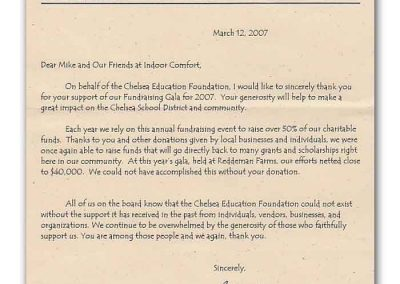 Letter from the Chelsea Education Foundation to Indoor Comfort