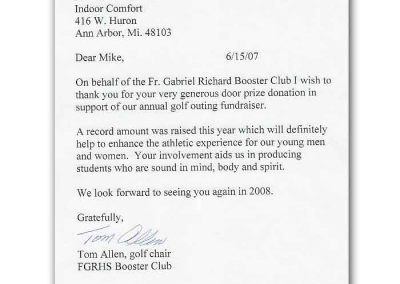 Letter from Friar Gabriel Richard Booster Club to Indoor Comfort