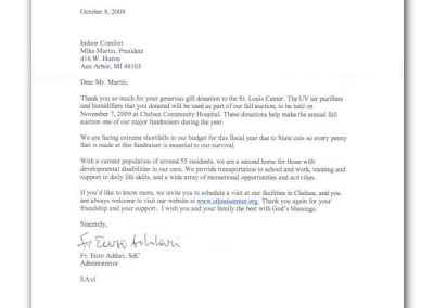 Letter from the Saint Louis Center to Indoor Comfort