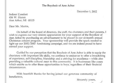 Letter from the Boychoir of Ann Arbor to Indoor Comfort
