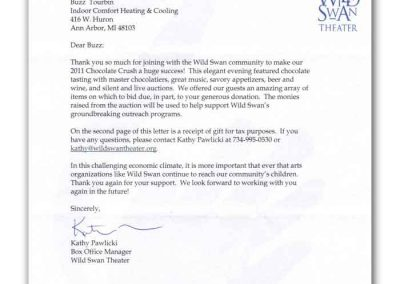 Letter from the Wild Swan Theater to Indoor Comfort