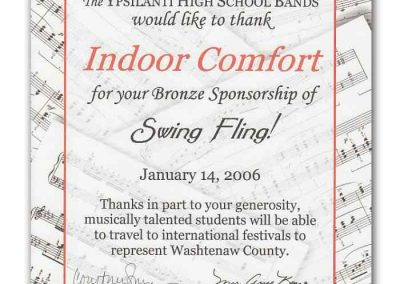 Letter from the Ypsilanti High School Bands to Indoor Comfort